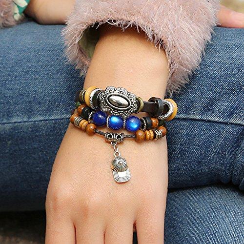 iBegem Bracelet ajustable et unisexe de type Tibétain en cuir noir orné de breloques en bois et chapeau fait main- Cadeau Saint Valentin Anniversaire