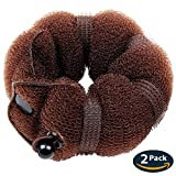 Goldrose Beauty Buns 2 Pieces Magic Hair Styling Styler Twist Ring Former Shaper Doughnut Donut Chignon Bun Maker Clip Hair Curler Accessory Middle & Large (Brown)