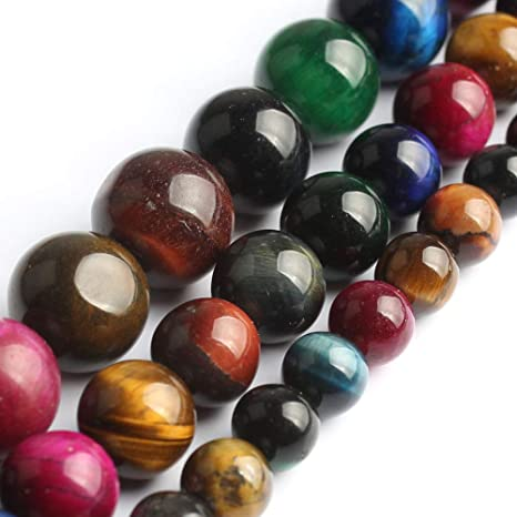 Rare 12mm Multicolor Natural Tiger/'s Eye Round Beads Stretch Bracelet
