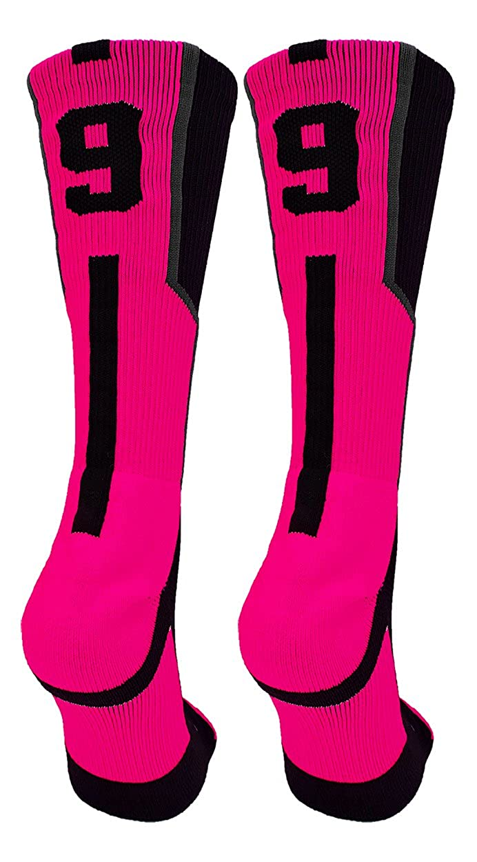 Player Id Black//Neon Pink Custom Jersey Number Crew Socks Pair