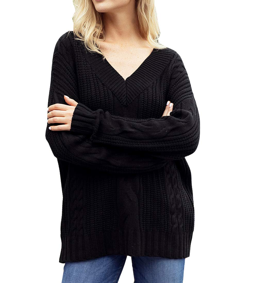 Eternatastic Womens Casual Cable Sweater V Neck Loose Fit Knit Sweater Pullover Top L Black