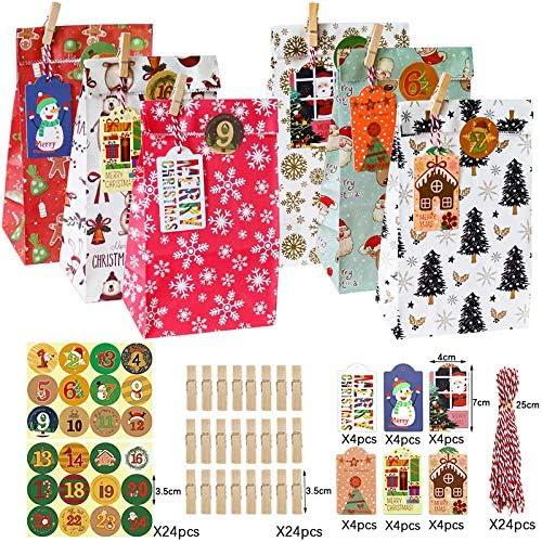 Viilich Sacchetti per calendario dell'Avvento, 24 sacchetti di carta natalizi per calendario, 24 pezzi adesivi per etichette, caramelle, regali, snack, pane, caramelle, accessori per feste di Natale