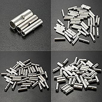 Jffeay 150Pcs Silver Metal Uninsulated Wire Ferrule Cable Crimp ...
