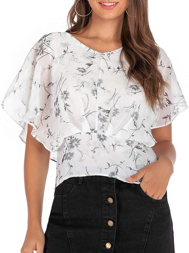 Witspace Women's Short Sleeve Fashion Office Ladies Print T-Shirt V-Neck Top Blouse