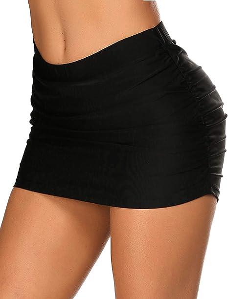 Mayyou Womens Shirred Skirted Bikini Bottom Tassels Swim Skirt