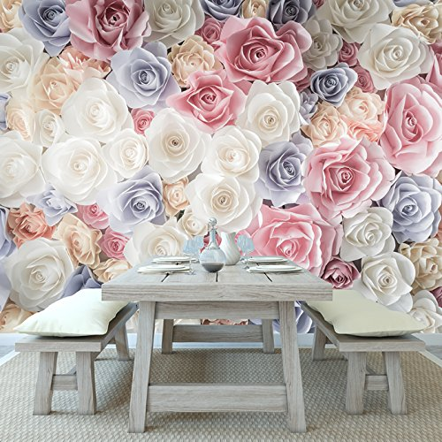 azutura Pink Rose Flowers Wall Mural White Blue Floral Photo Wallpaper Girls Home Decor available in 8 Sizes X-Small Digital
