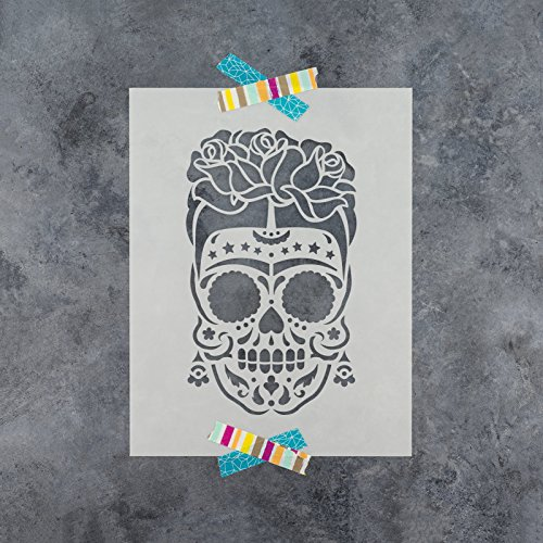 Sugar Skull Frida Stencil Template for Walls and Crafts - Reusable Stencils for Painting in Small & Large Sizes
