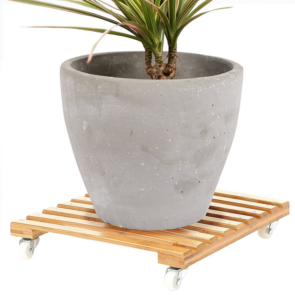 Movable Bamboo Plant Pot Trolley Plant Pot Stand Coaster with 4 Wheels Rolling Base