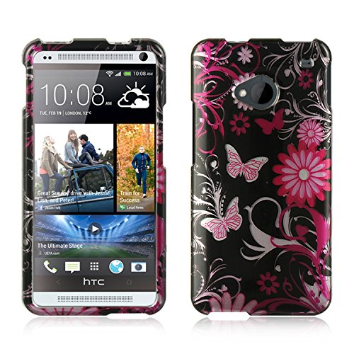 Dream Wireless CAHTCM7PKBF Slim and Stylish Design Case for HTC One M7 - Retail Packaging - Pink Butterfly