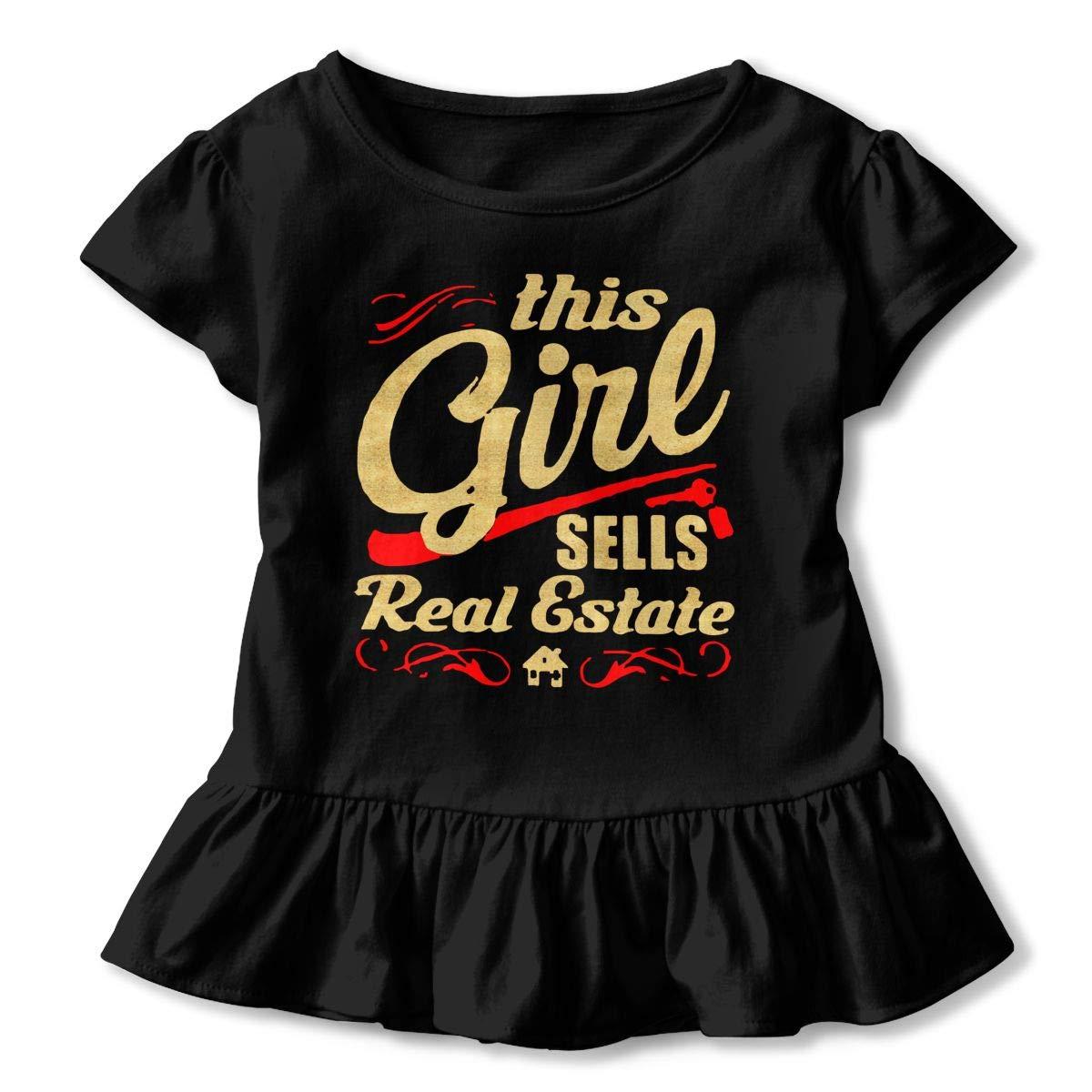 This Girl Sells Real Estate Toddler Baby Girls Short Sleeve Ruffle T-Shirt