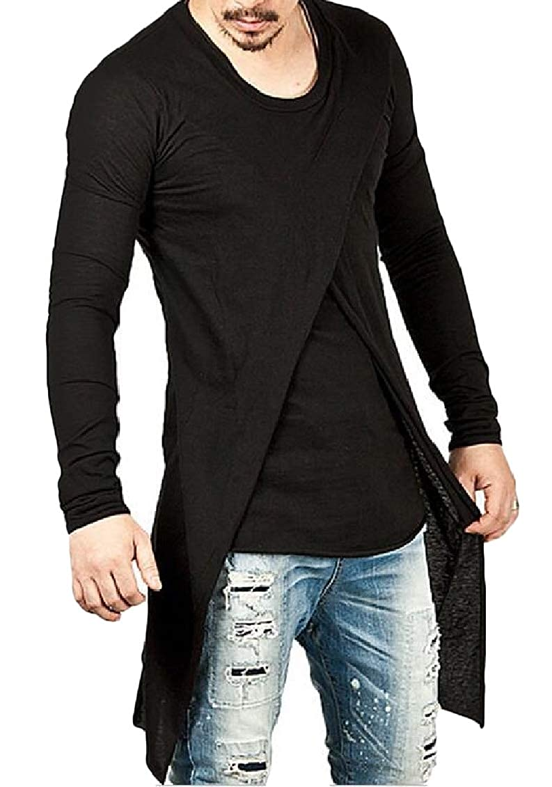 Sweatwater Mens Casual O-Neck Pure Colour Long Sleeve Criss Cross Tops T Shirt