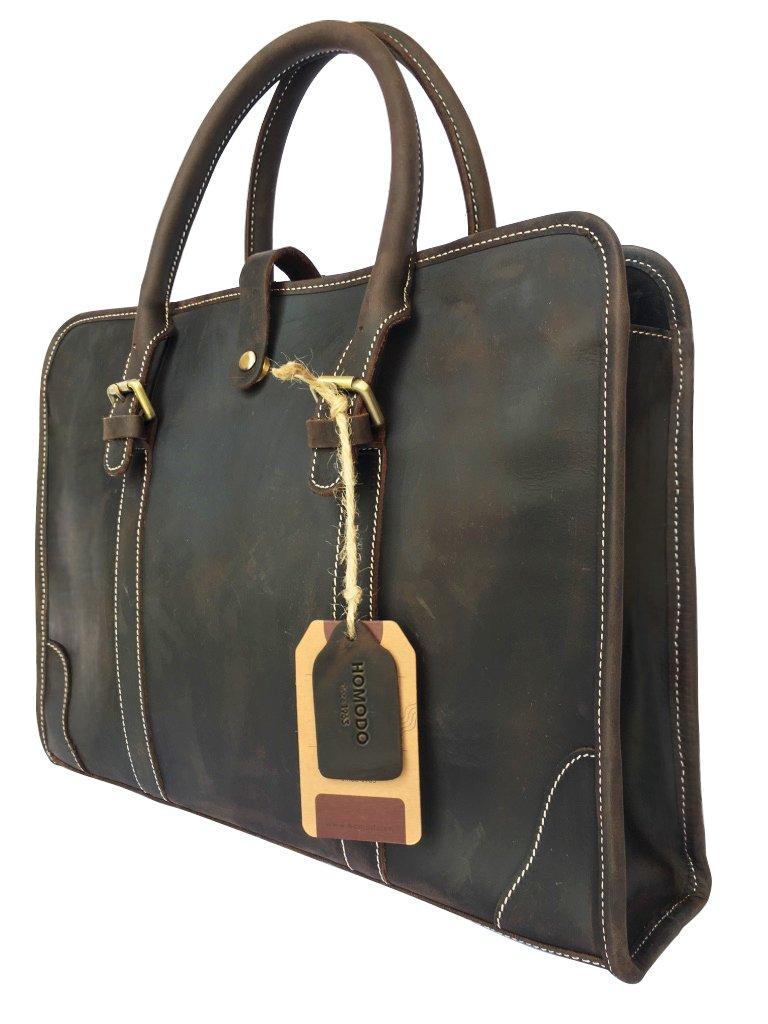 Homodo Handmade Genuine Leather Vintage Messenger Executive Bag for 15.6'' Laptop Shoulder Briefcase Travel Tote Bag