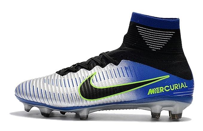 a4df00fb92d Men s High Ankle Soccer Shoes Neymar Jr Nike Mercurial Superfly V FG Racer  Blue Chrome - - US 8  Amazon.co.uk  Clothing