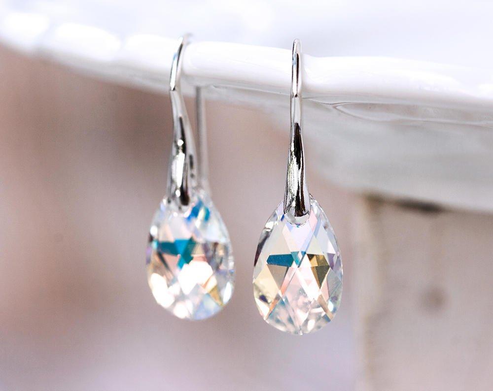 Bridesmaid gift earrings SWAROVSKI earrings Crystal earrings Gift for her  White earrings Gift silver earrings Teardrop earrings gift 769