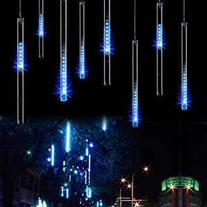 Aukora Rain Drop Lights, LED Meteor Shower Lights 11.8 inch 8 Tubes 144leds, Icicle Snow Falling Lights for Xmas Wedding Party Holiday Garden Tree Christmas Thanksgiving Decoration Outdoor (Blue)