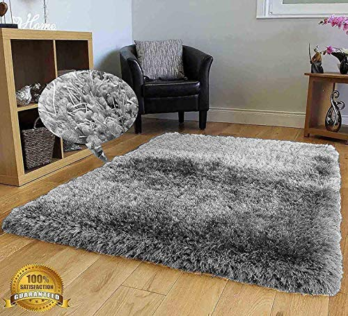 - 8x10 Shag Shaggy Fluffy Furry Fuzzy Contemporary Modern Solid New Living Room Bedroom Soft Plush High Pile Area Rug Carpet Silver Light Gray Light Grey Sale (Romance Silver)
