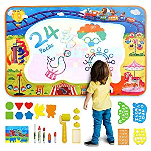 Aqua Magic Doodle Mat Toy| Kids Painting Writing Doodle Board Toy| Extra Large Water Doodle Drawing Mat with 5 Magic Pens| Educational Toys Gift for Age 2 3 4 5 6 7 8 Year Old Girls Boys Kids Toddler