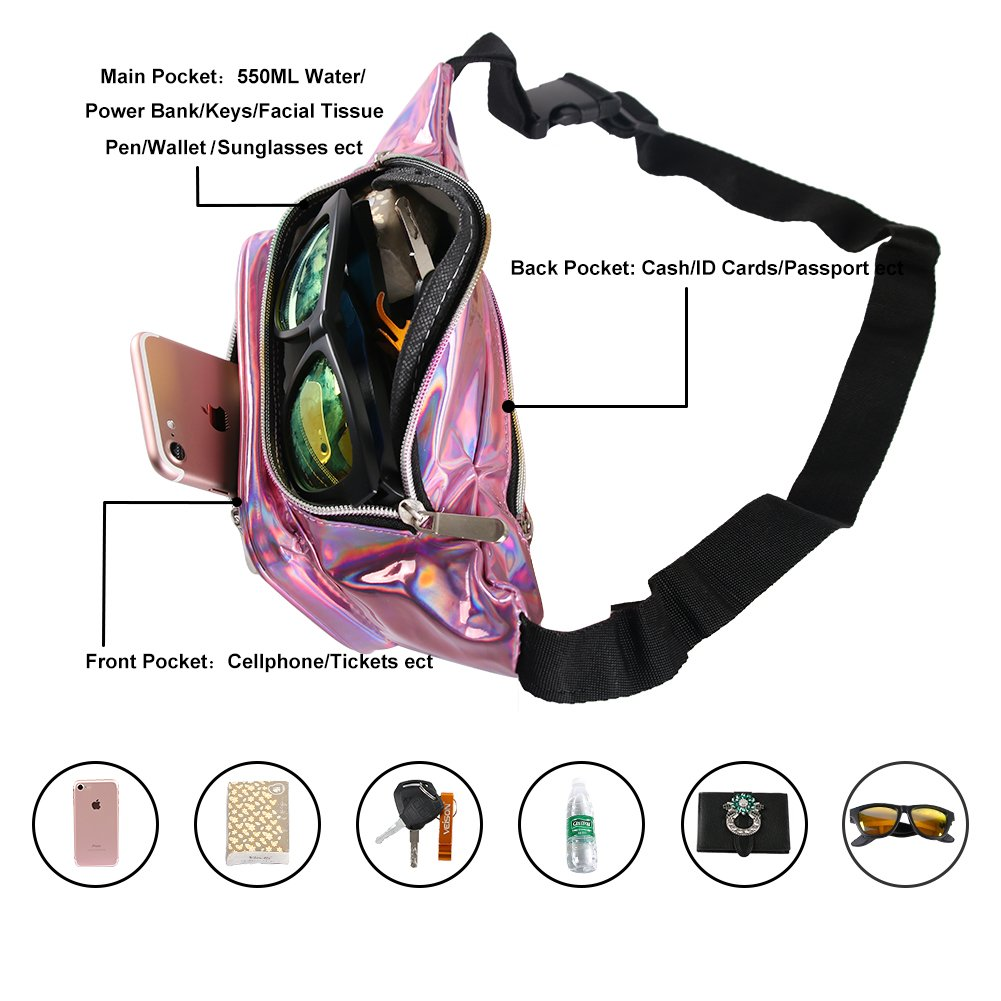Holographic Fanny Pack for Women - Waist Fanny Pack with Adjustable Belt for Rave, Festival, Travel, Party by Mum's memory (Image #5)