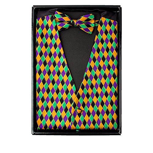 (Mardi Gras Style, Vibrant Colorful Harlequin Print Vest & Bow Tie)