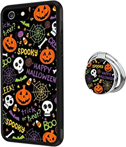 Black iPhone 6s Plus 6 Plus Case with Ring Holder Stand Pumpkin Halloween Pattern 360 Rotation Ring Grip Kickstand Soft TPU and PC Anti-Slippery Design Protection Bumper for iPhone 6s Plus 6 Plus