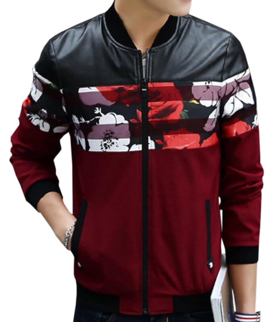 CRYYU-Men Slim Fit Lightweight Floral Casual Long Sleeve Bomber Jacket Coat