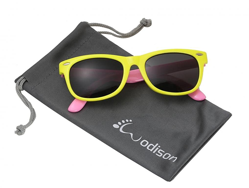 WODISON Kids Polarized Wayfarer Sunglasses UV400 Unisex for Age 3 to 12 with Pouch