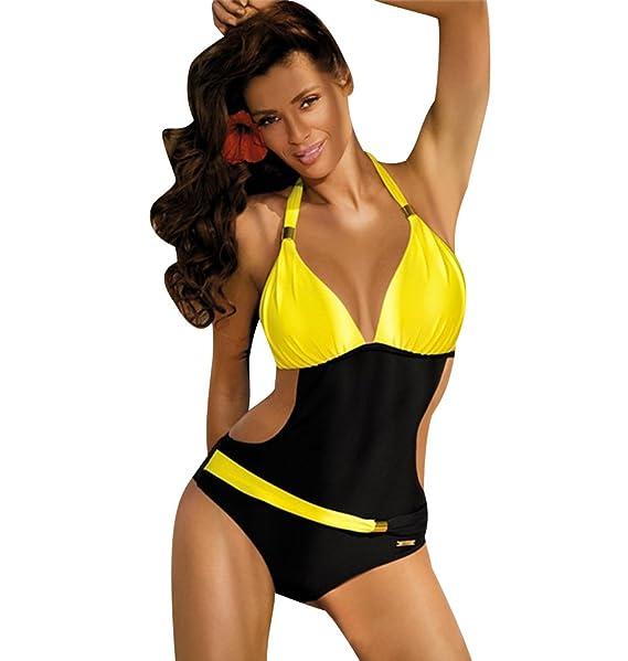 8fe9a0c713cc ISSHE Bañadores Mujer Bikini Escote Halter Monokini Trajes de Baño Señora  Traje de Baño Bikinis Mujeres Trikini Bañador Natacion Push Up de Una ...