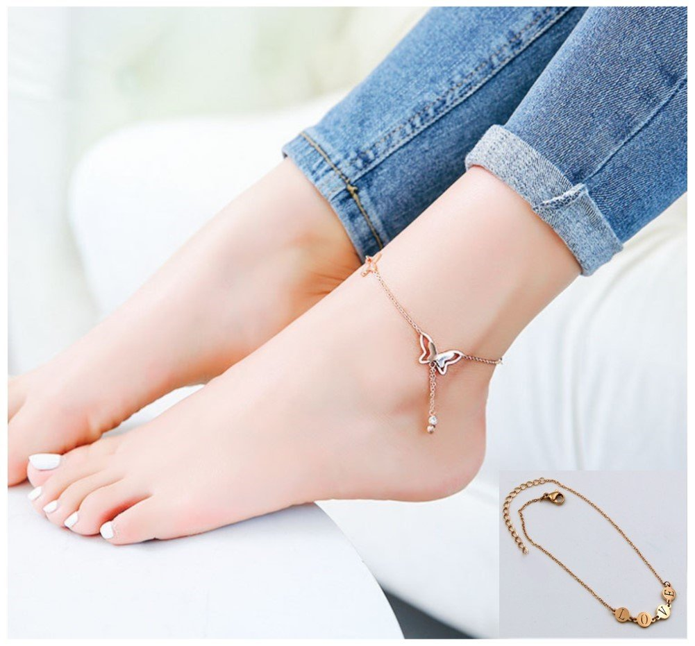 YHMM 18K Rose Gold Stainless Steel Anklets for Women Girls Ankle Chains Bracelets Adjustable Beach Anklet Foot Jewelry (2 Pcs Gold-tone)