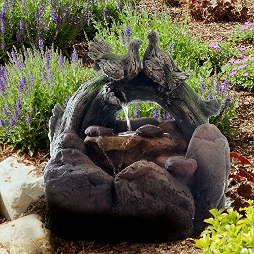 Outdoor Water Fountain With Cascading Stone Waterfall, Wood Logs, Doves and Soothing Sound for Decor on Lawn, Garden and Patio By Pure Garden