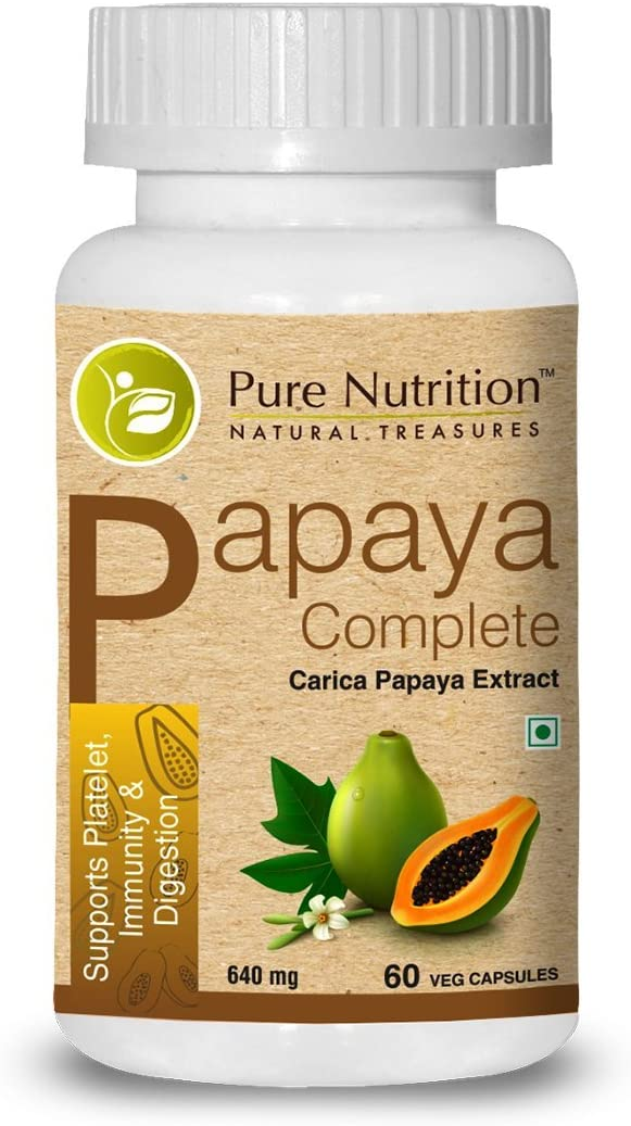 Pure Nutrition Papaya Complete - 60 Veg Capsules (Supports Platelet Immunity & Digestion) Each Capsule Contains 500mg Carica Papaya Fruit and Leaf Extract