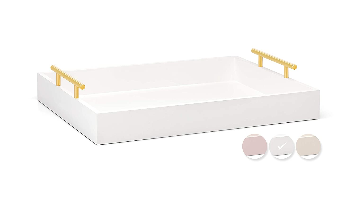 Esther Decorative Coffee Table Tray – White and Gold, Wood Serving Tray for Ottoman or Centerpiece, Rectangular, Polished Metal Handles, Beautiful Wooden Construction, 16.5x12.25, Soft Matte Finish