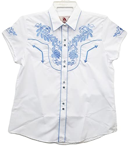 Modestone Women'S Embroidered Short Sleeved Fitted Western Camisa Vaquera Floral Black