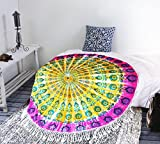 Future Handmade 72 Inches Round Mandala Multi color Bohemian tie dye rich fabric round Tapestry Hippie beach throw beach towel beach blanket sofa spread bed spread Home Decorative