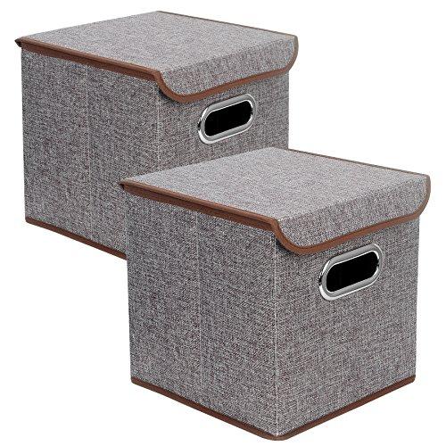 Zonyon Square Storage Container, Sturdy Collapsible Storage Cube Bin,Closet Organizer,Nursery Hamper,Basket for Kid Room, Boys, Girls, Playingroom, Office, Bookshelves,10''X10''X10'',Grey,2 Packs