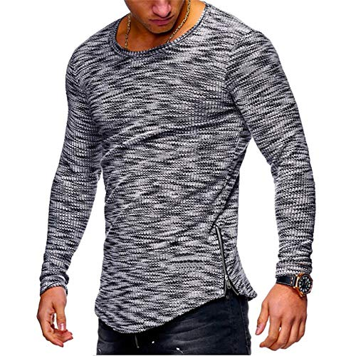 Coat Silk Print (HGWXX7 Men's Fashion Solid O Neck Long Sleeve Muscle Tee T-Shirt Tops Blouse (XXL, S-Dark Gray))