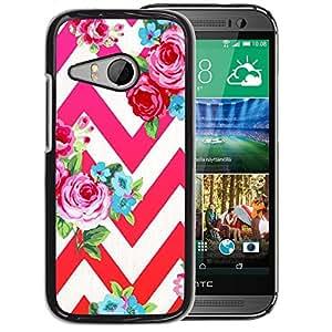 A-type Arte & diseño plástico duro Fundas Cover Cubre Hard Case Cover para HTC ONE MINI 2 / M8 MINI (Rose Petal Red Pink Floral Pattern Chevron)