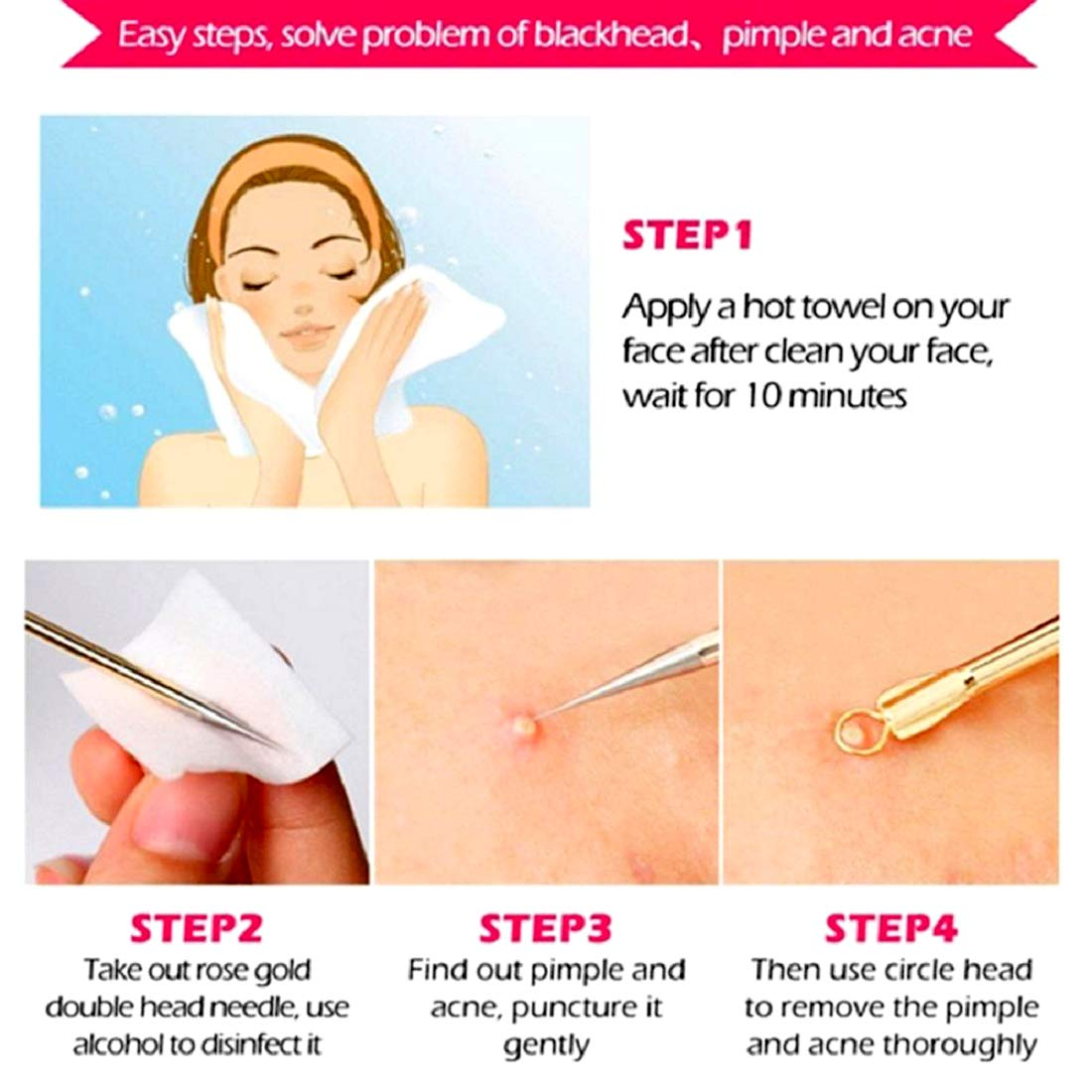 Blackhead Remover Pimple Comedone Extractor Tool Best Acne Removal Kit - Treatment for Blemish, Whitehead Popping, Zit Removing for Risk Free Nose Face Skin, Electroplated Best Seller 4 PCS w/case.: Beauty