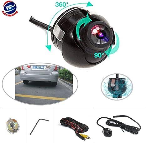 pack de 2 12V Cocar paire voiture tourner c/ôt/é vue cam/éra de miroir vue avant arri/ère recul sauvegarde 360 degr/és swivel flush mount