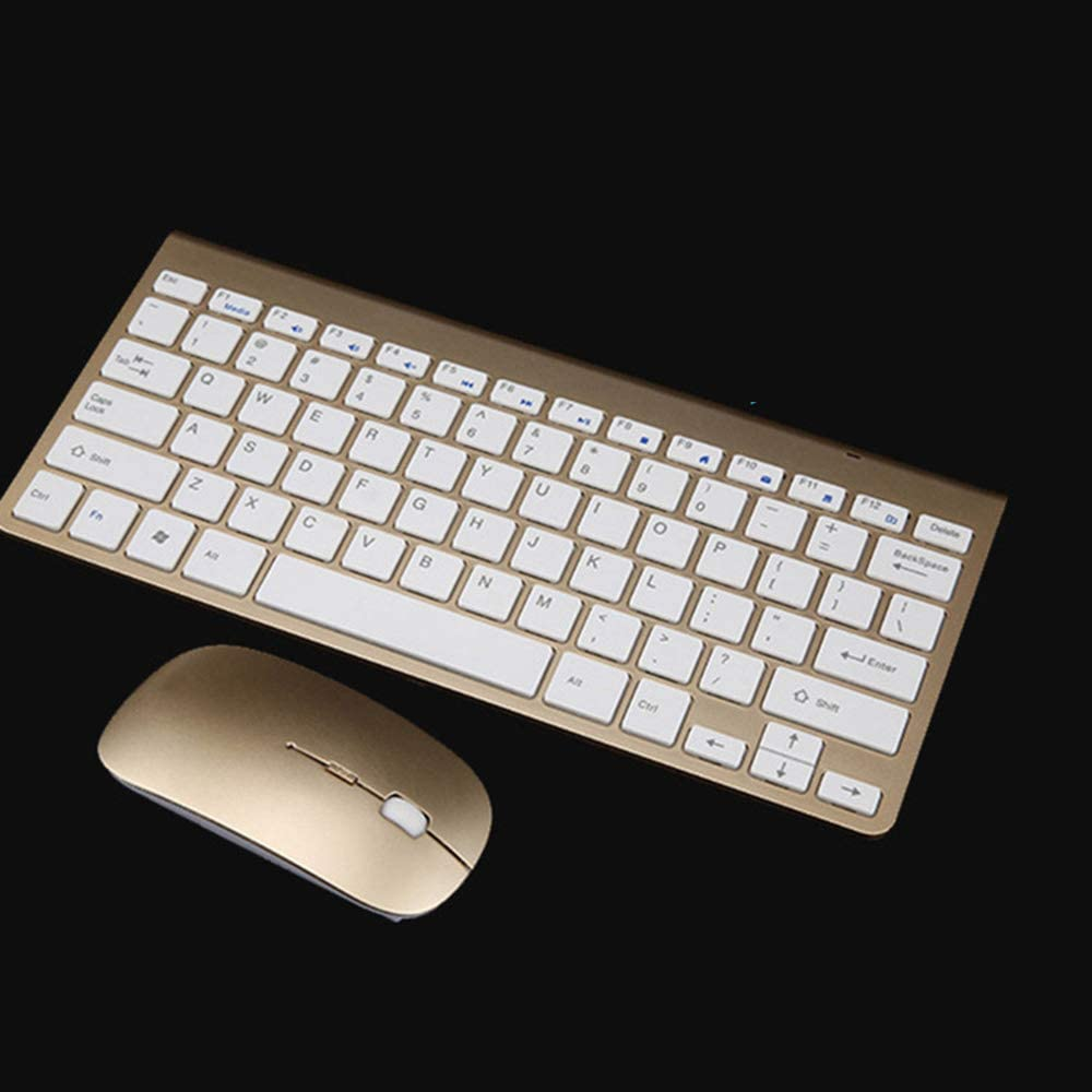 PC 2.4GHz Compact Whisper Quite Keyboard Mouse Combo Nano USB Receiver Laptop Color : Gold Notebook OFNMD Wireless Keyboard Mouse