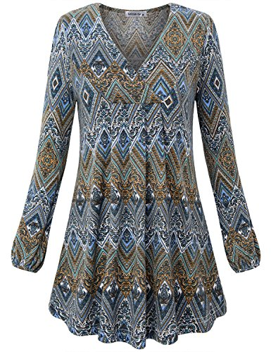 - MOQIVGI Trapeze Top, Ladies Long Sleeve V Neck Vintage Chervon Pattern Tunic Shirts Loose Relaxed Fit Flowy Blouses for Office Wear Blue X-Large