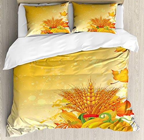 Ambesonne Harvest Duvet Cover Set, Vivid Group of Vegetables Plump Pumpkins Wheat Fall Leaves, Decorative 3 Piece Bedding Set with 2 Pillow Shams, King Size, Yellow Green