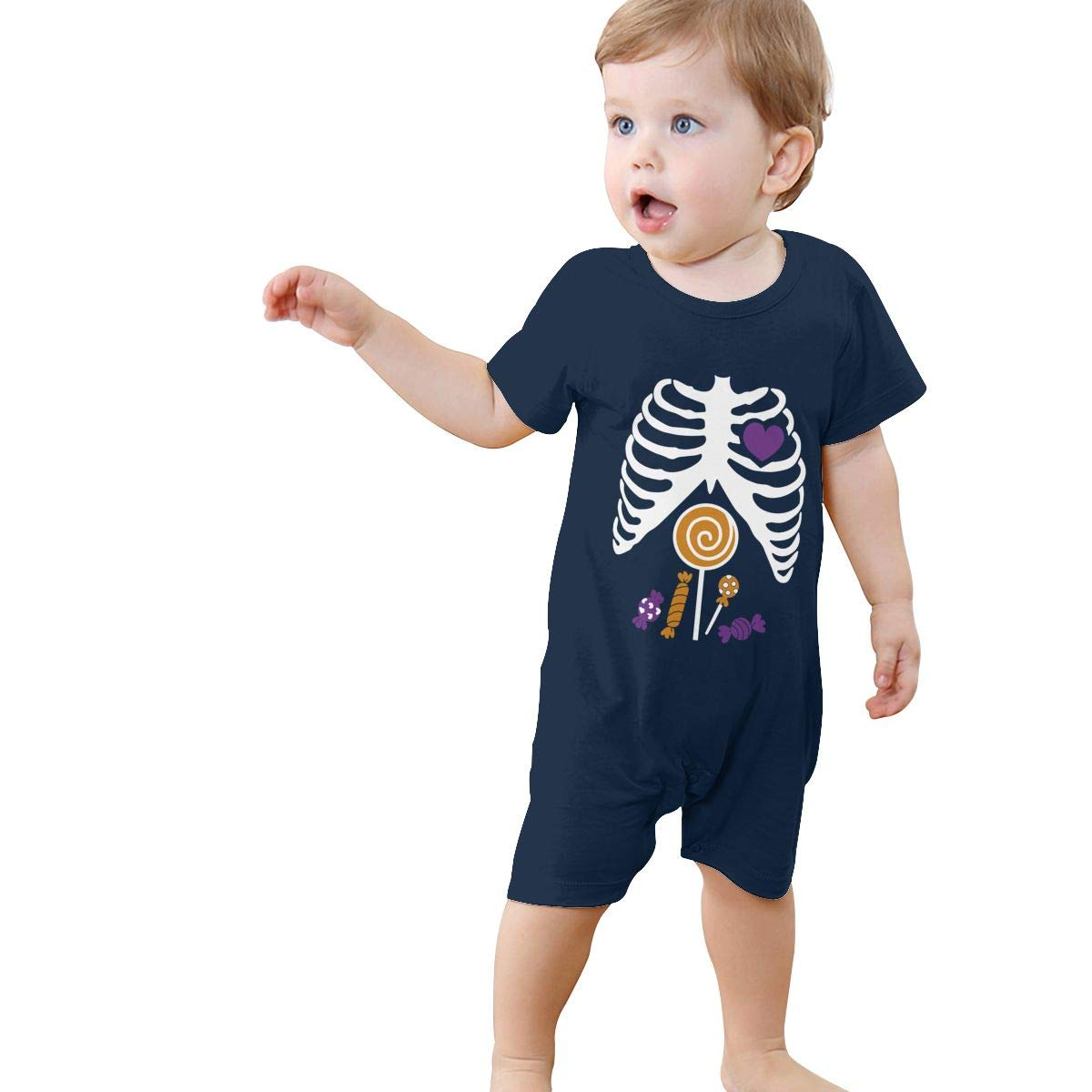 Just Born Baby Boys Girls Bodysuits Skeleton Candy Rib-cage X-Ray Halloween Funny Cotton Short Sleeve Romper Suit