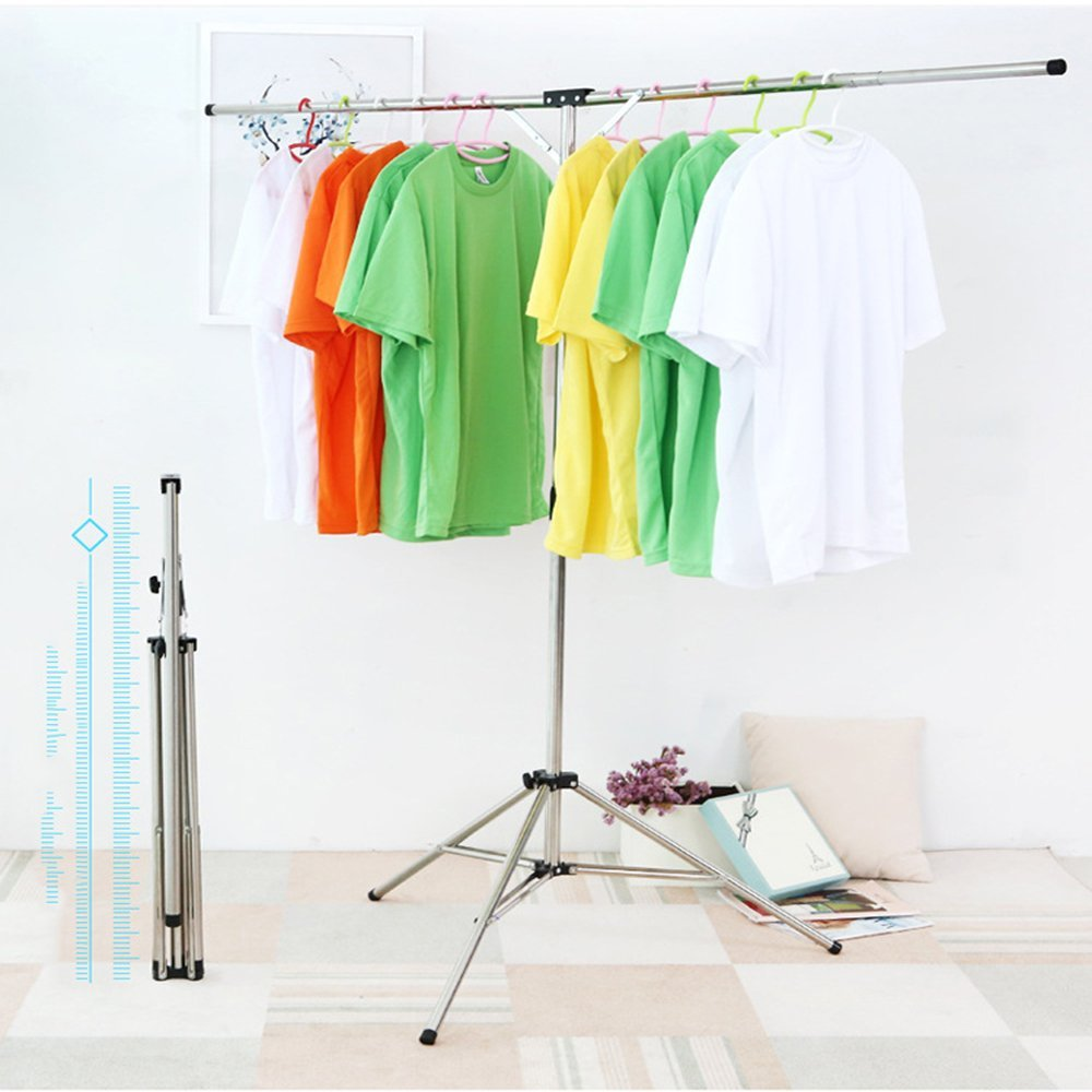 XYTMY Collapsible Portable Clothes Drying Rack for Wet Clothing, Retractable High Capacity Folding Stainless Steel Laundry Drying Hanging Racks for Indoor Outdoor, Camping