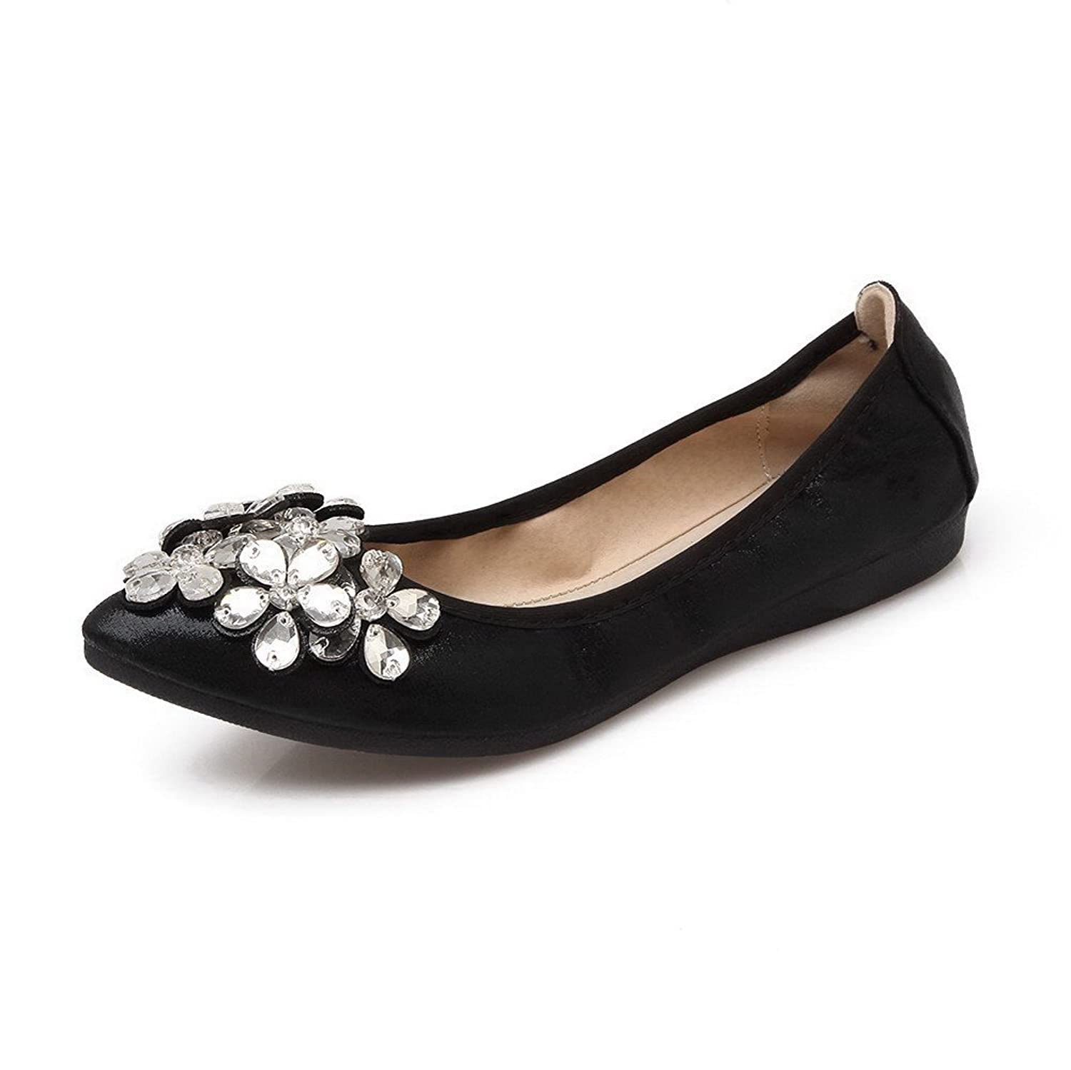 AalarDom Women's Soft Material Solid Pointed-Toe Pull-On Pumps-Shoes