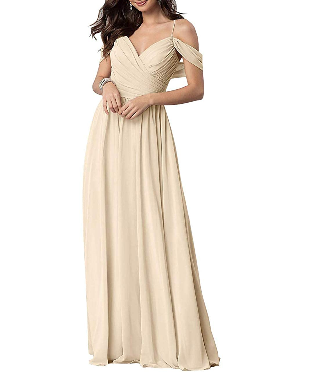 Champagne Long Prom Gown and Evening Dresses for Women OffTheShoulder Bridesmaid Dresses