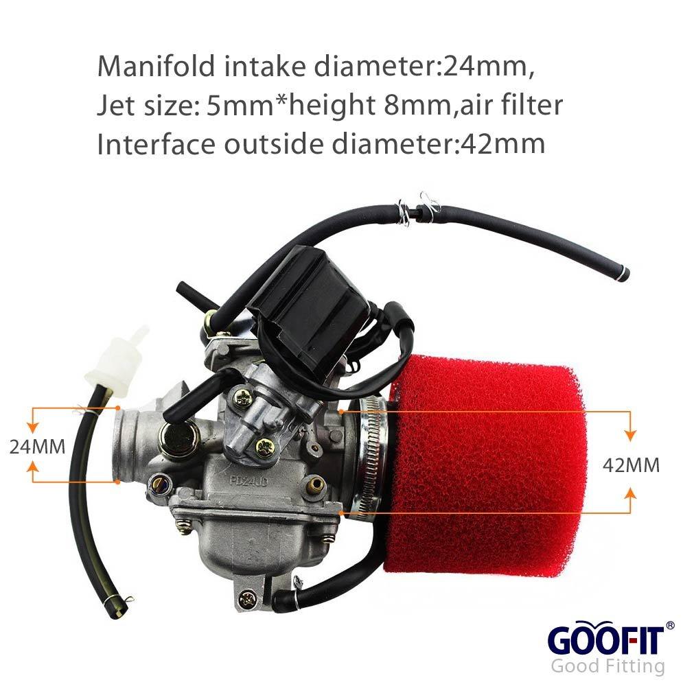 GOOFIT PD24J Performance Carburateur with filtre à air 2 Stage Air pour Yerf Dog Spiderbox GY6 125cc 150cc Go Kart Group-9
