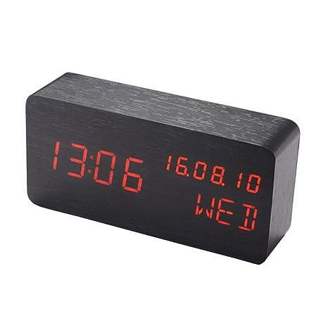 Digital Alarm Clock Led Desk Clock with Date Temperature humidity meter /& Travel