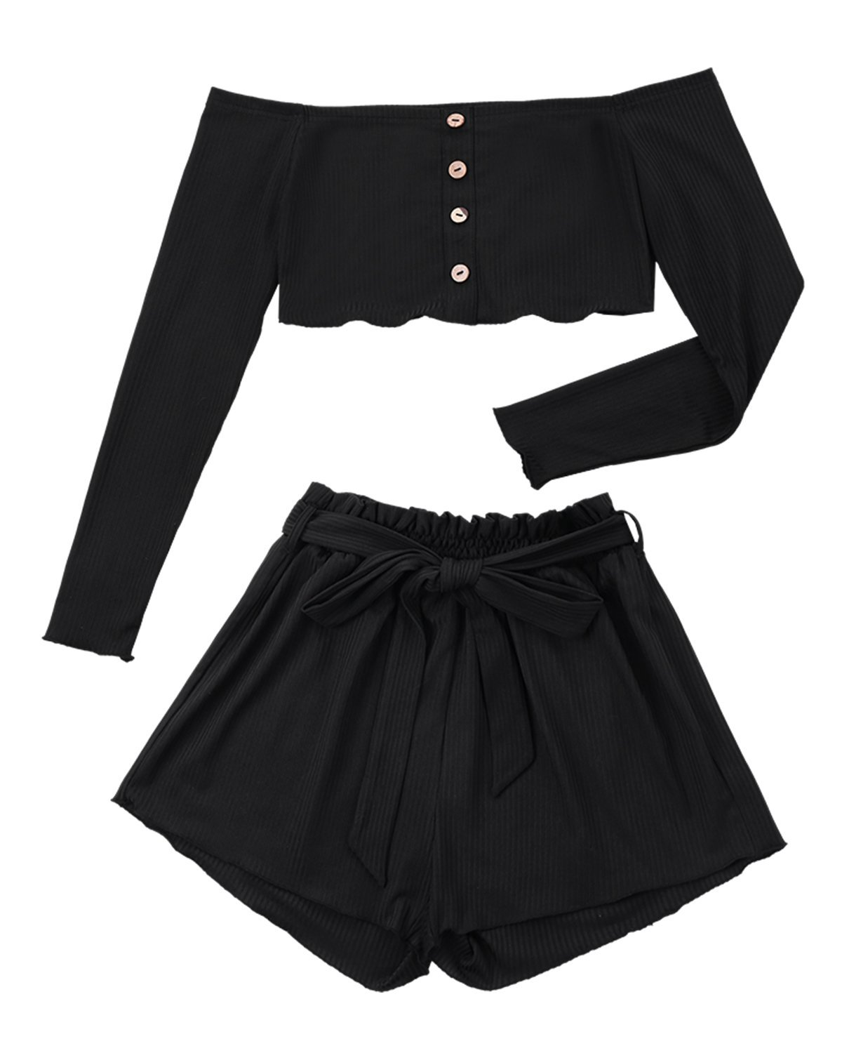 ZAFUL Women Ribbed Long Sleeve Crop Top and Wide Leg Shorts Set Button Tops(Black,S)