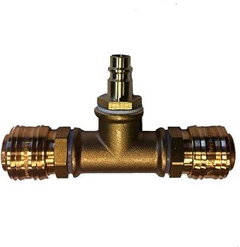 2-fach Verteiler für Stecker Druckluft Schnellkupplung Druckluftkupplung Messing