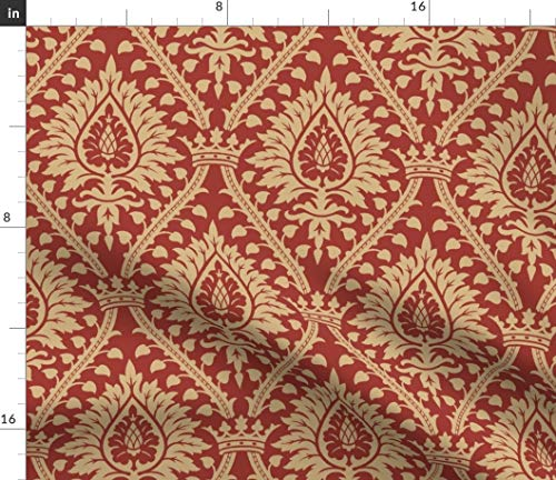 Renaissance Damask Fabric - 2A Royal Ornate Botanicals Medieval Victorian Brocade Crown Islamic Print on Fabric by the Yard - Basketweave Cotton Canvas for Upholstery Home Decor Bottomweight Apparel
